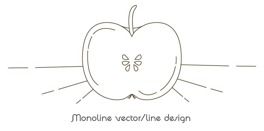 pomme monoline vector
